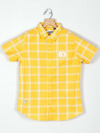Ruff yellow cotton checks boys shirt