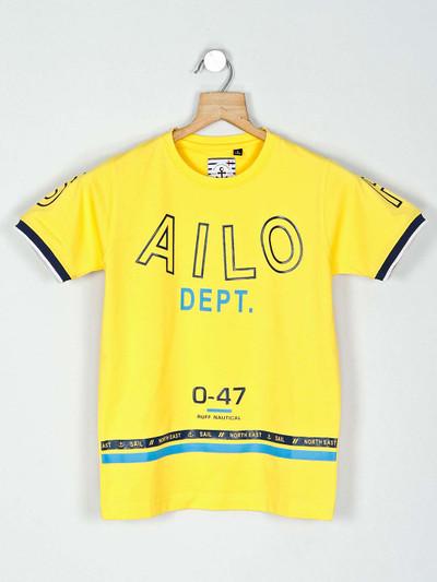 Ruff yellow printed cotton printed t-shirt