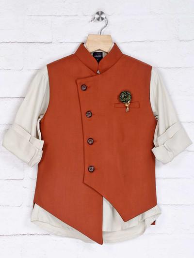 Rust and beige cotton silk waistcoat set