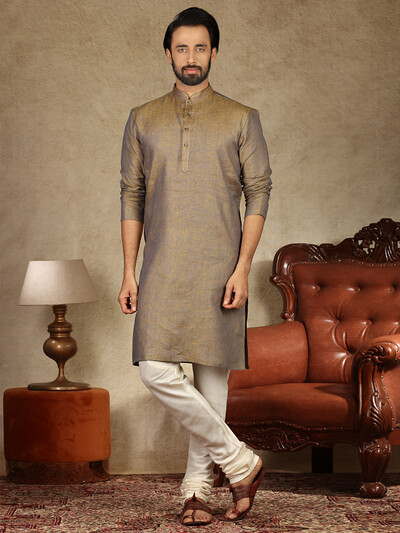 Rust brown solid cotton fabric kurta suit