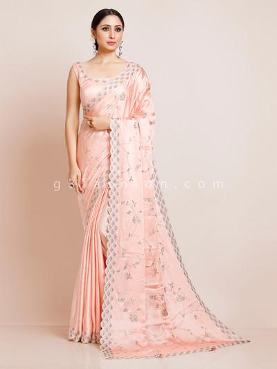 Satin peach saree with readymade blouse for wedding