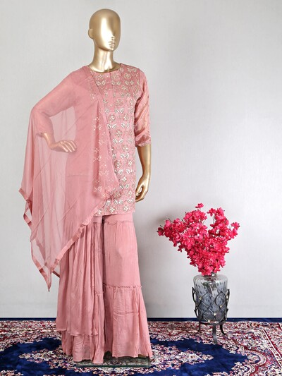 Satin pink festive wear designer sharara suit