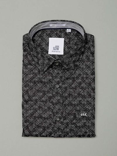 SDW black hued printed shirt