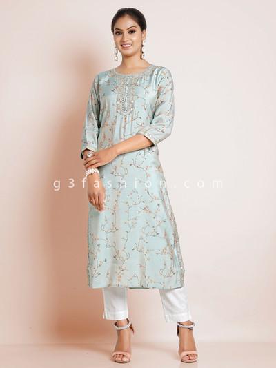 Sea green causal printed look kurti in cotton