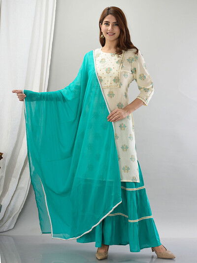 Sea green color cotton festive wear sharara suit