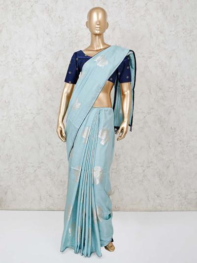 Sea green muga silk festive occasion saree