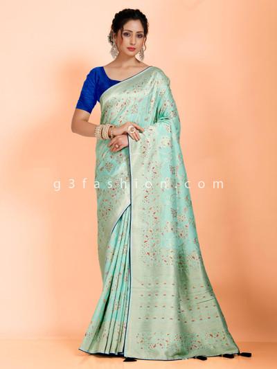 Sea green dola silk saree