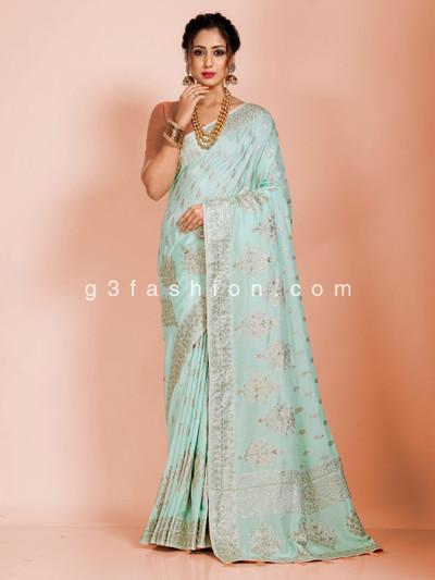 Sea green dola silk wedding occasion saree