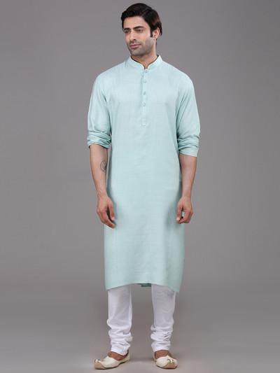 Sky blue festive function silk kurta suit