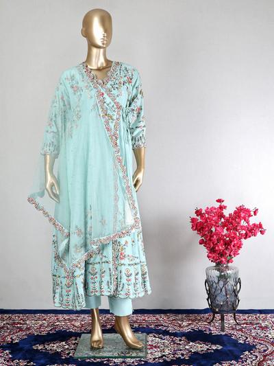 Sea green georgette salwar kameez for wedding function
