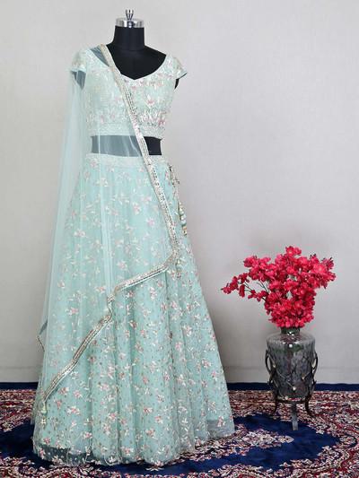 Sea green net wedding wear lehenga choli for womens