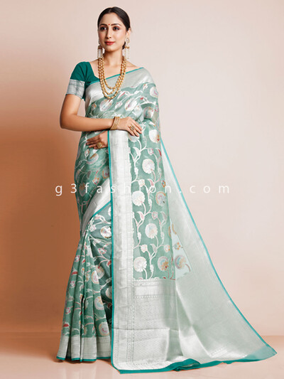 Sea green organza silk wedding saree