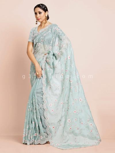 Sea green organza tissue silk saree for wedding