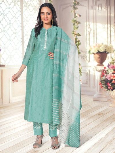 Sea green pant suit for womens in cotton