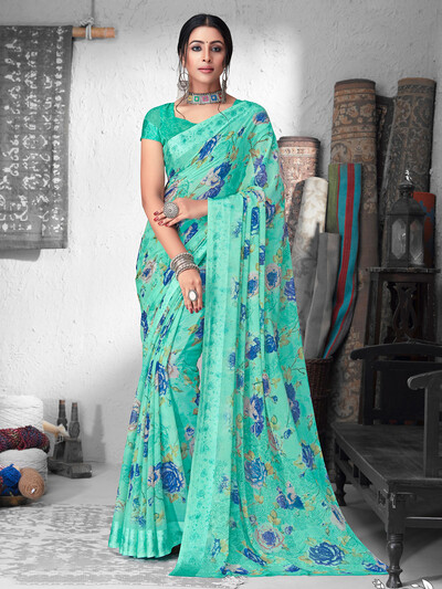 Sea green printed chiffon satin saree for festivals