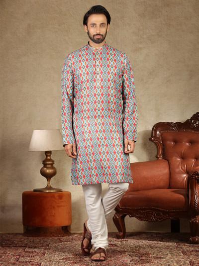 Sea green printed cotton festive wear kurta suit