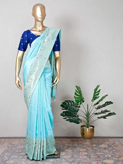 Sea green raw silk wedding wear saree