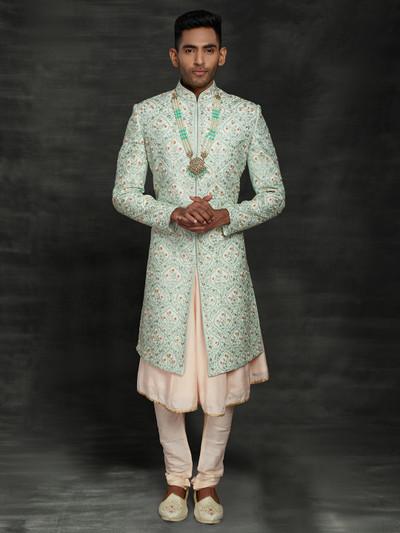 Sea green silk double layer sherwani for wedding