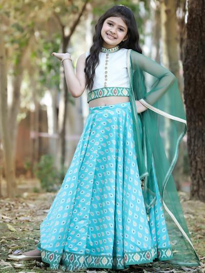 Sea green silk lehenga choli for girls