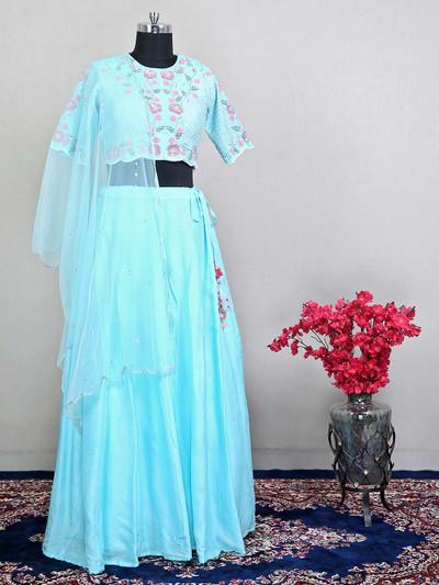 Sky blue wedding functions lehenga choli