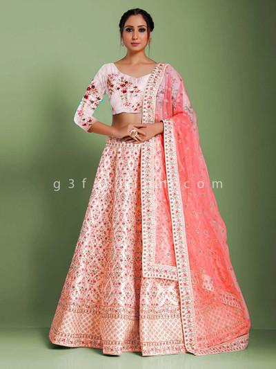 Semi stitched pink designer raw silk lehenga choli