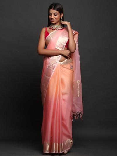 Shaded Peach Party Wear Saree in Silk
