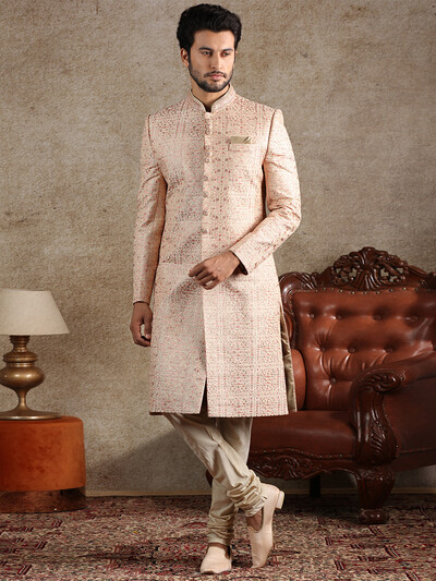 Silk beige and pink wedding sherwani