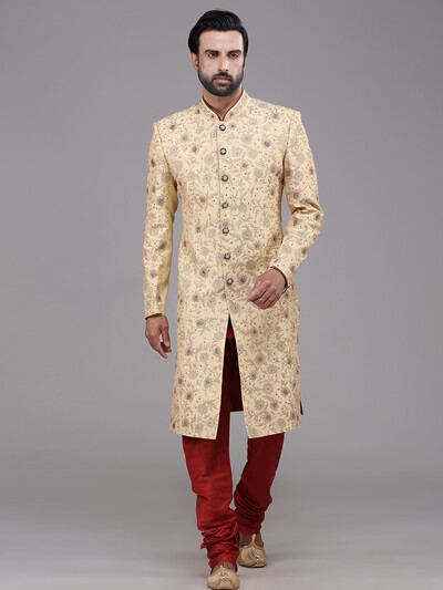 Silk beige classic indo western