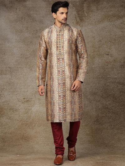 Silk beige full sleeve printed kurta suit