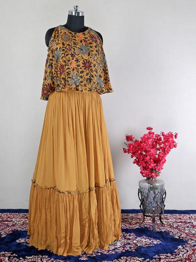 Silk brown lehenga style suit for wedding