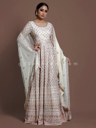 Silk cream floor length anarkali suit in wedding