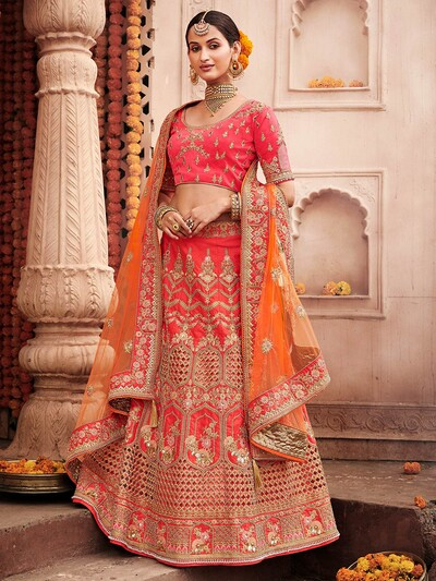 Silk designer semi stitched lehenga choli in pink