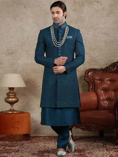 Silk fabric teal green wedding sherwani