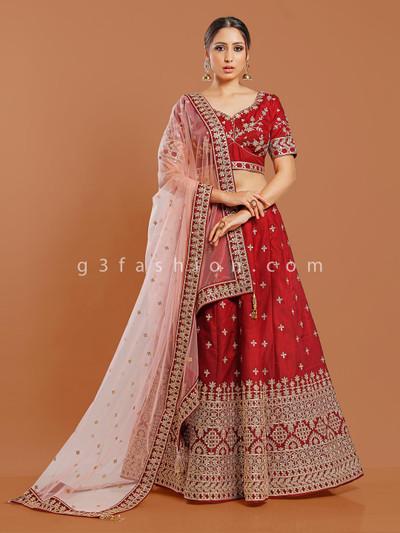 Silk maroon wedding or party lehenga choli