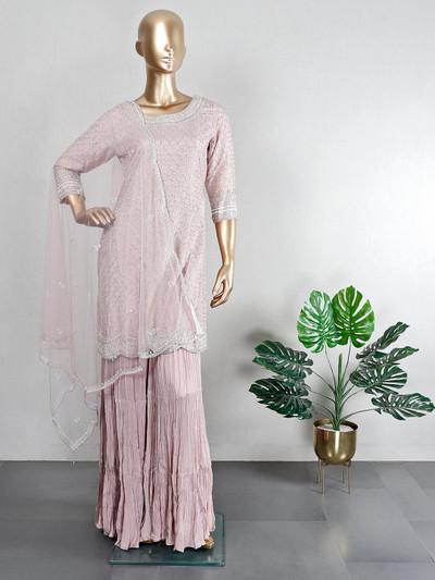 Silk onion pink wedding wear sharara suit