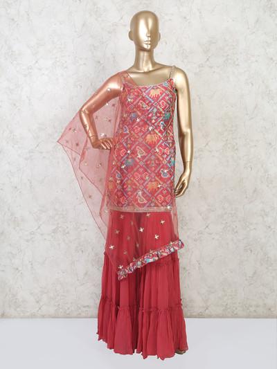 Silk pink punjabi sharara suit in festive wear