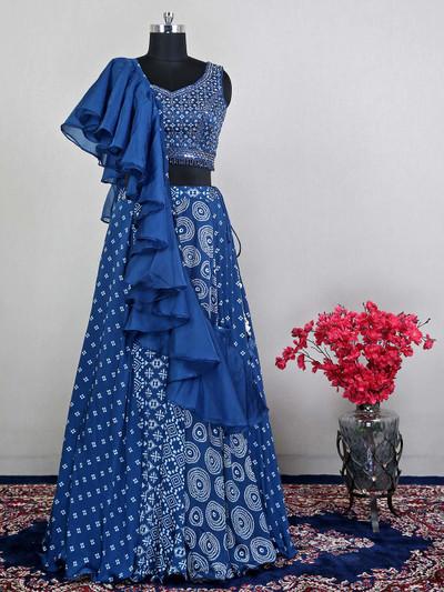 Silk wedding and reception wear blue lehenga choli