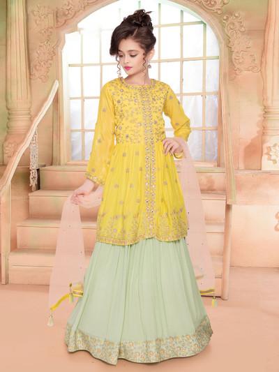 Silk wedding wear yellow lehenga choli for girls