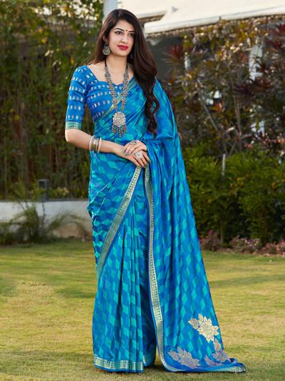 Sky blue banarasi silk festive wear saree for women