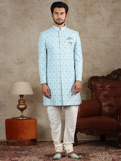 Sky blue cotton silk indo western for party