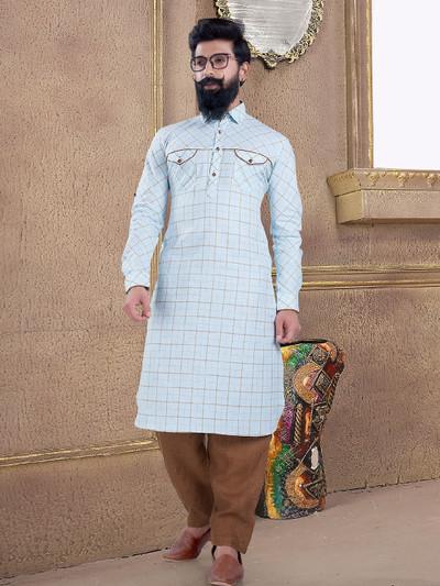 Sky blue cotton silk pathani suit