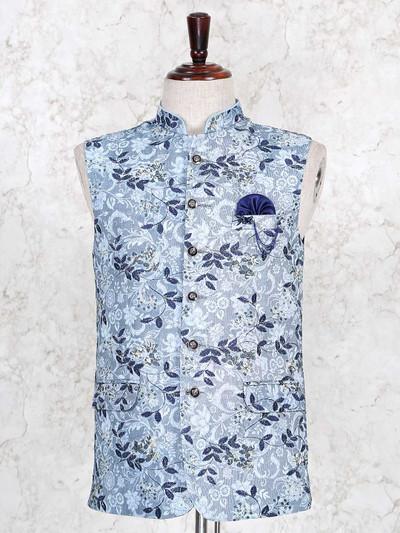 Sky blue cotton waistcoat party wear