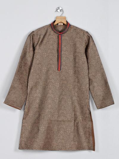 Brown festive function kurta suit in cotton