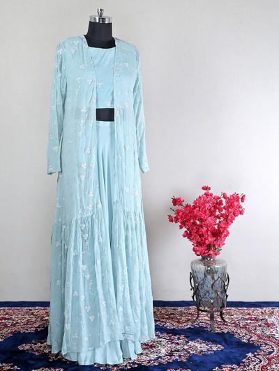 Sky blue festive wear indo western suit