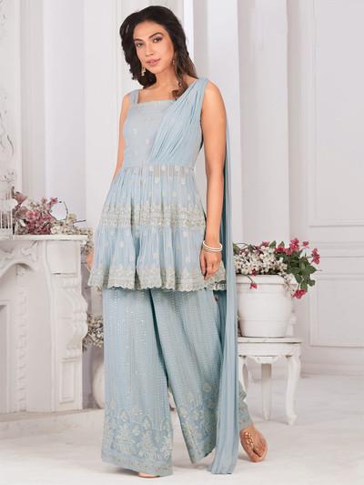 Sky blue georgette punjabi style palazzo suit for festive