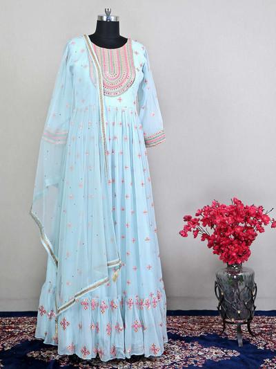 Sky blue georgette wedding wear salwar suit