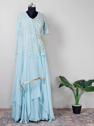 Sky blue high low style lehenga suit for wedding