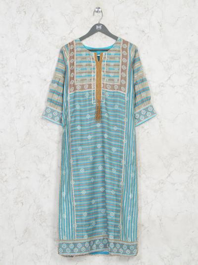 Sky blue printed casual wear kurti