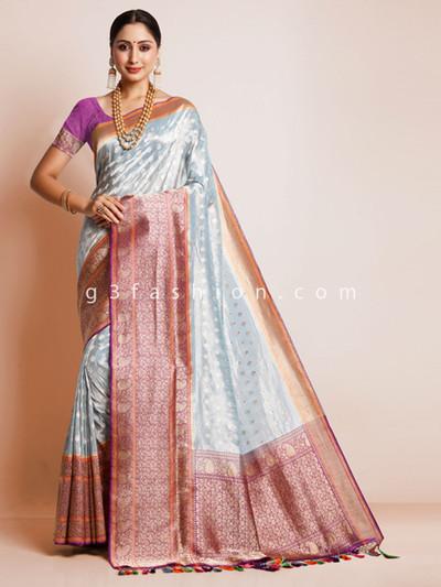 Sky blue pure silk saree for wedding