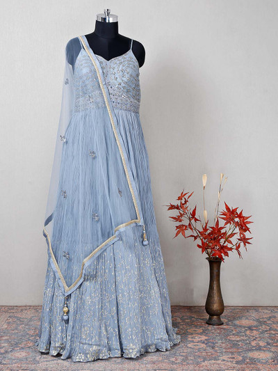 Sky blue raw silk designer wedding wear suit